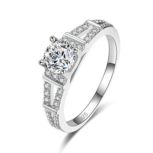 Veunora 925 Sterling Silver Plated Lab-Created White Topaz Promise Proposal Engagement Wedding Rings for Women Girl Size 9