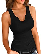 VICHYIE Tank Tops for Women Summer Sleeveless Shirts Ribbed Slim Fitted Tops