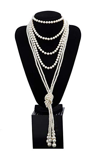 1920s Pearls Necklace Fashion Faux Pearls Gatsby Accessories Vintage Costume Jewelry Cream Long Necklace for Women (B-Knot Pearl Necklace2 + 59 Necklace1-White)