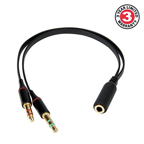 ENHANCE 3.5mm Female to Male Gold Plated Splitter Adapter Extension for Computer Gaming , Skype , Facetime , Google Voice and More: Works great with GOgroove AudiOHM HDX's and Other Headphones w/ Mic.