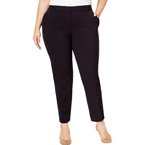 MICHAEL Michael Kors Womens Plus Miranda Flat Front Pants Navy - Kors Miranda Michael