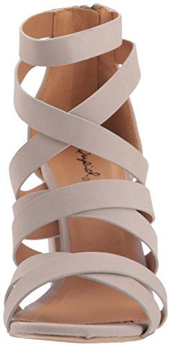 Qupid Women's Chunky Heeled Sandal Taupe Nubuck XJXoX8DGq