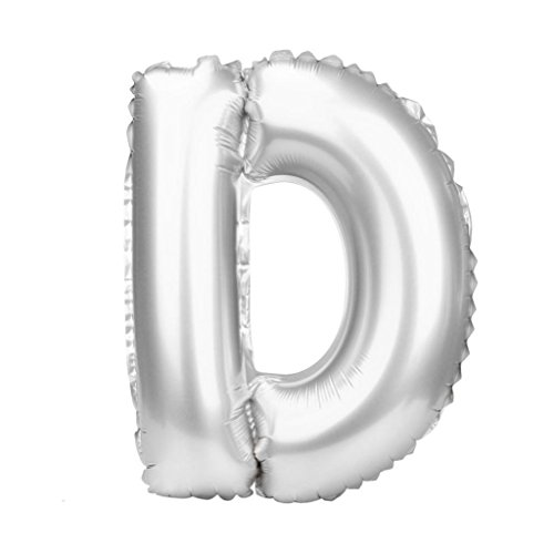 Gbell Letter Balloons A to Z (40 INCH) - Large Gold Sliver Aluminum Foil Film Alphabet Balloons - for Halloween Christmas Wedding Birthday Bridal Shower Celebration Party Home Decoration (Silver, D)]()