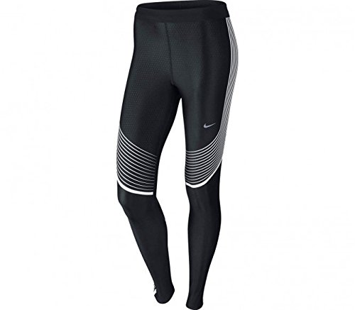 Nike Womens Power Speed Striped Running Tights Pants (Small, Black/White)