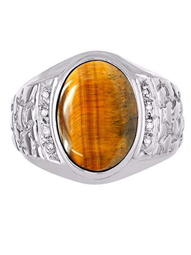 Oval Tigers Eye Cabochon Ring - Genuine Oval Tiger Eye & Natural Diamonds Set in Nugget Designer Style Sterling Silver 925 Ring