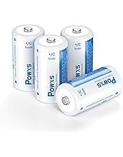 POWXS 4 Pack C Rechargeable Batteries 1.2V 5000mAh Large Capacity C Batteries Rechargeable NiMH Cell