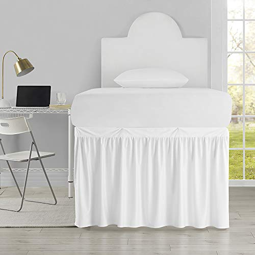 Luxury Plush Dorm Sized Bed Skirt Panel with Ties (1 Panel) - White