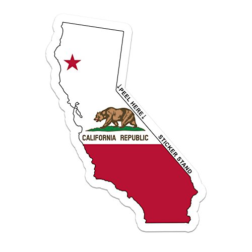 CALIFORNIA State Map Flag bumper sticker decal 6
