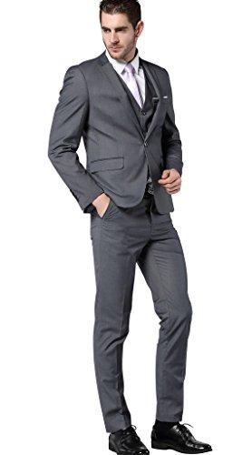 Men's Slim Fit 3 Piece Dress Suits Prom Dress Suit Set US Size 36 (Tag Asian Size XL) Dark Gray