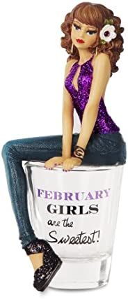 """Hiccup by H2Z 73710 """"February Girls are The Sweetest!"""" Shot Glass with 5-3/4"""" Girl Figurin"""