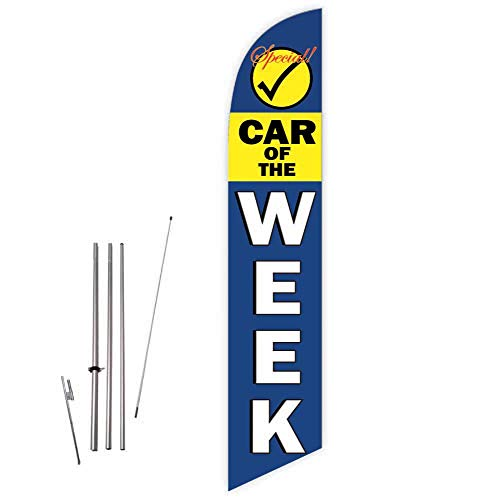 Cobb Promo Car of The Week Special (Blue) Feather Flag with Complete 15ft Pole kit and Ground Spike