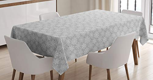 Ambesonne Christmas Decorations Tablecloth, Various Types of Snowflakes Arrows Stars Cold Winter, Dining Room Kitchen Rectangular Table Cover, 52 W X 70 L Inches, Grey White ()