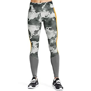 Mission Women's VaporActive Altitude Full Length Leggings, Quiet Shade/Cloud Quiet Shade/Gold Fusion, Medium