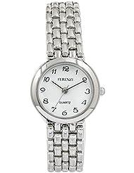 Ferenzi Women's | Silver Brick Pattern Sleek Bracelet Watch | FZ14502