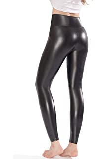 17e39bbfa Amazon.com  Women s Stretchy Faux Leather Leggings Pants