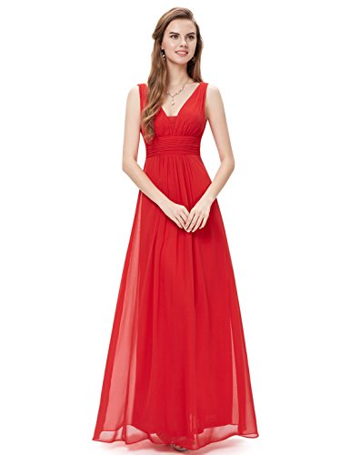 Ever-Pretty Womens Double V Neck Ruched Waist Long Evening Dress 16 US Red
