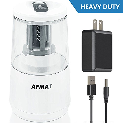 Electric Pencil Sharpener, Heavy-duty Helical Blade to Fast Sharpen, Auto Stop for No.2/Colored Pencils (6-8mm), USB or Battery Operated in School Classroom/Office/Home (USB and AC Adapter Included) by AFMAT