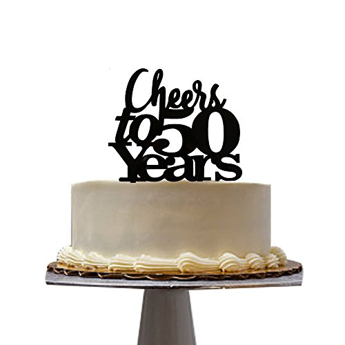 Amazon Cheers To 50 Years Cake Topper For 50th Birthday Party Decoration Santonila Kitchen Dining