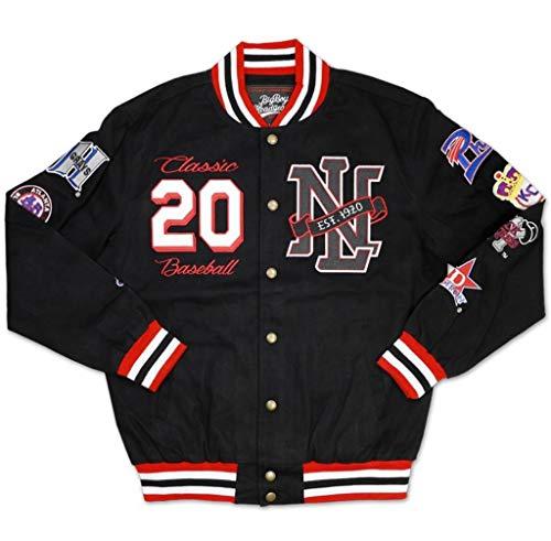 Negro League Baseball Jackets - Big Boy Headgear NLBM Men's New Embroidered Twill Jacket Medium Black