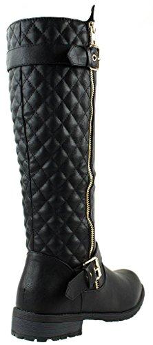 Forever Mango-21 Women's Winkle Back Shaft Side Zip Knee High Flat Riding Boots Black 8.5