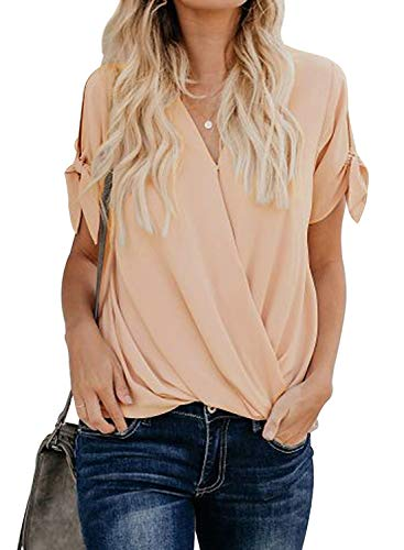 Lovezesent Womens Casual Loose Chiffon Blouses and Shirts for Leggings Sexy V Neck Front Twist Wrap Tops with Tie Sleeves Apricot Medium