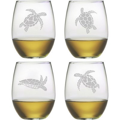 Sea Turtle Stemless Wine Glass (Set of - Turtle Glasses