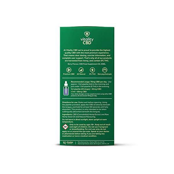 Vitality CBD Berry Flavour Oral Drops in Hemp Seed Oil, 1200mg, 30ml