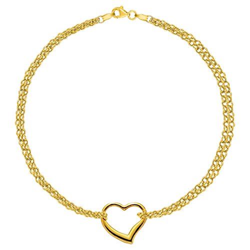 - 14K Yellow Gold Double Strand With Heart Anklet, 10