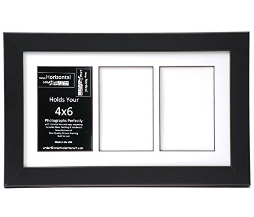 Creative Letter Art [8x14bk-w] 3 Opening Glass Face Black Picture Frame Holds 4x6 Media with White Collage Mat