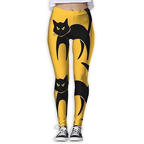 Women's Girl Halloween Black Cat High Waist Casual Leggings Tights Yoga Pants Running Pants Stretchy Sport Pilates Workout Long (After Halloween Candy Sale Best)