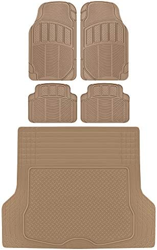 BDK MT-624 ProLiner Classic Grid Rubber Car Floor Mats, Universal Front & Rear Seat Mat Combo Set with Trunk Cargo Mat Liner for Car Sedan SUV Van, Heavy Duty All Weather Trim to Fit