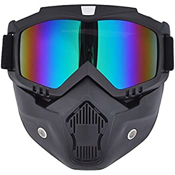 CHCYCLE motorcycle motocross face mask with detachable Goggles (rainbow)