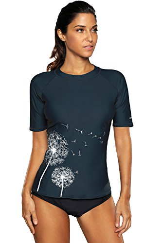 CharmLeaks Womens rashguard swim shirt rashguard shirt rash guard swimwear,Navy,XX-Large
