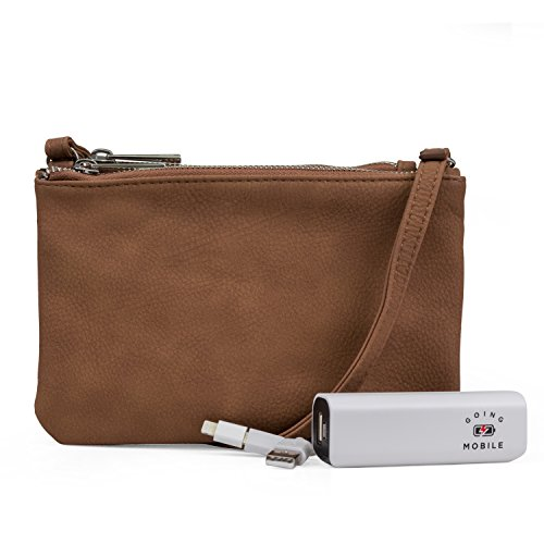 Mundi Protect & Connect RFID Blocking Womens Crossbody Bag Wallet With Bonus Portable Charger (Sugar) - Mundi Brown Handbag