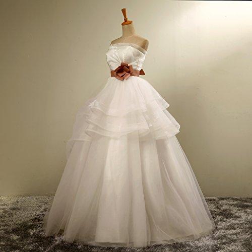 Besswedding Delle Arco Sposa Abito Donne Da Abito Da Collo Del Smerlato Il Del Organza Telaio Lungo Ballo Bianco r0rZHx