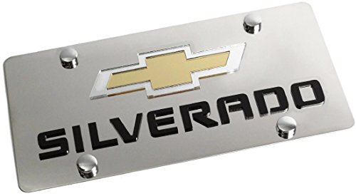 Stainless Steel Chevy Silverado Mirror Gold Black License Plate Frame 3D Novelty ()