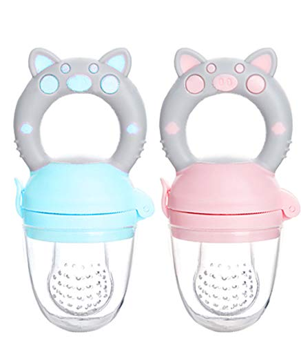 - MMBABY Baby Food Feeder/Fruit Feeder Pacifier (2 Pack) - Infant Teething Toy Teether in Appetite Stimulating Colors (Blue/Pink, M)