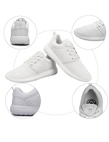 Breathable Sneakers Women's Lightweight Tennis Road Comfortable Running Camel Mesh Shoes Walking for Athletic White Trail zwTfqxRxE