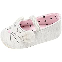Voberry Baby Girl Soft Cloth Shoes Cat Pattern Crib Toddler Newborn Sneakers (0~6 Month, White)