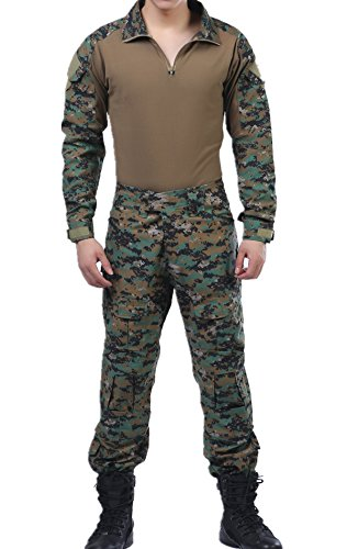 Digital Woodland Tactical Camo BDU Combat Shirts Top Pant Uniform Sets Ripstop Camo Bdu Set Pants Shirt