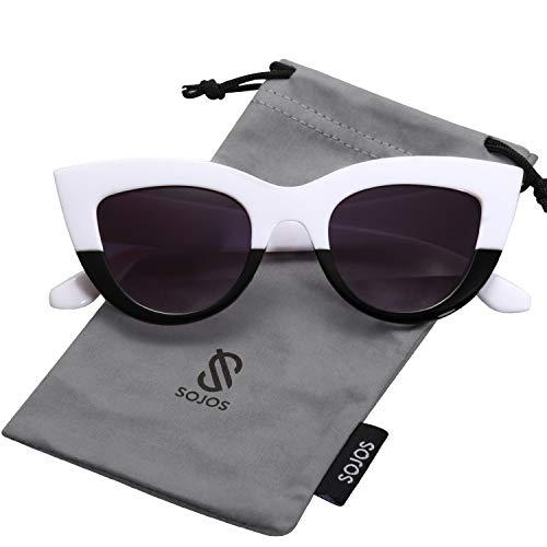 - SOJOS Retro Vintage Cateye Sunglasses for Women Plastic Frame Mirrored Lens SJ2939 with White&Black Frame/Grey Lens