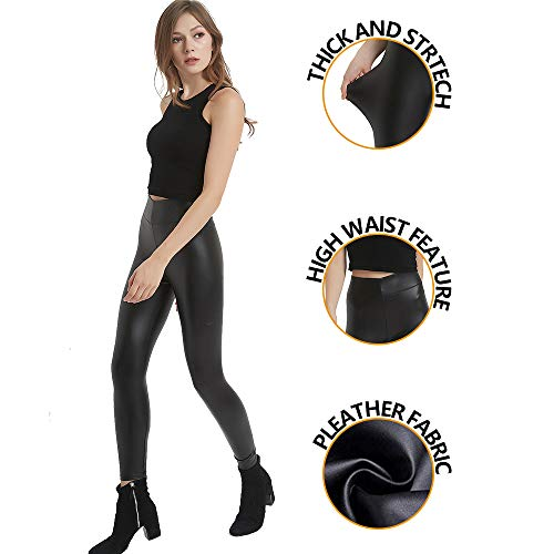 MCEDAR Women's Faux Leather Legging Pants Girls Black High Waist Sexy Skinny Outfit for Causal, Club, Night Out. (L, Black (Easy Halloween Costumes To Work Out In)