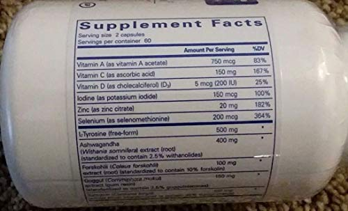 Pure Encapsulations, Thyroid Support Complex 120 caps - Thyroid Support with Iodine Supplement for Energy Metabolism Boost 120 Tablets by IronRage (Image #1)