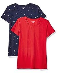 38969c86e5 Amazon Essentials Women's 2-Pack Short-Sleeve Crewneck Patterned T-Shirt