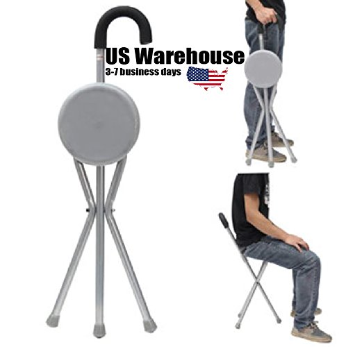 Outdoor Travel Folding Stool Chair Portable Tripod Cane Walking Stick Seat Camping Hiking [US Warehouse] by ShopIdea by ShopIdea
