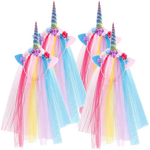 4 PACK Rainbow Unicorn Headband With Tulle Mane Featuring A Rainbow Horn, Pastel Cat Ears, and Flowers