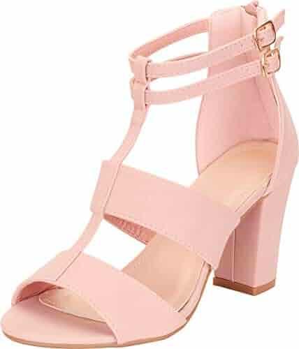 fcb4ab60e8 Cambridge Select Women's T-Strap Cutout Caged Chunky Block Heel Sandal