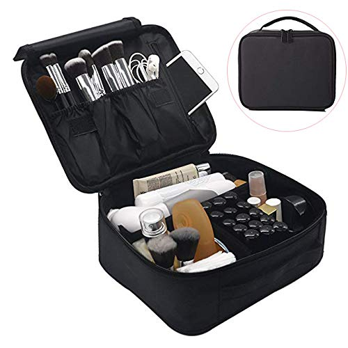 Lmeison Travel Makeup Train Case Organizer for Women, 9.6 Portable Cosmetic Storage Bag with Adjustable Dividers, for Cosmetics, Makeup Brush Set, Jewelry, Toiletry and Digital Accessories