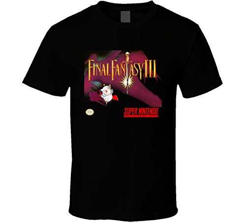 Art Fantasy T-shirts (The Village T Shirt Shop Final Fantasy III SNES Box Art T Shirt 2XL Black)