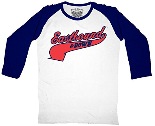 Kenny Powers Costume (Eastbound & Down Logo Kenny Powers 55 Jersey White and Navy Baseball Raglan T-Shirt Tee, Small)